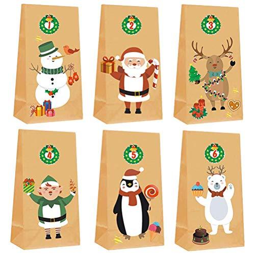 HTZ-M 6pcs Bolsas de Postre para Hornear de Navidad Bolsas de Papel de Regalo de Bricolaje para niños con Pegatinas Decoraciones navideñas