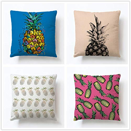 ZYFSKR Cotton Linen Pillow Covers Cushions Covers Print Pillowcase Covers Color Pineapple Series Cushion Cover For Sofa Bedroom Living Room Car Couch 4 Pcs 45X45Cm