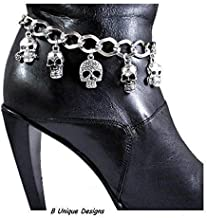 Skull Motorcycle Accessory Boot Bracelet Bling Iron Chain Motorcycle Boots Biker Accessory Custom Handmade in USA jewelry