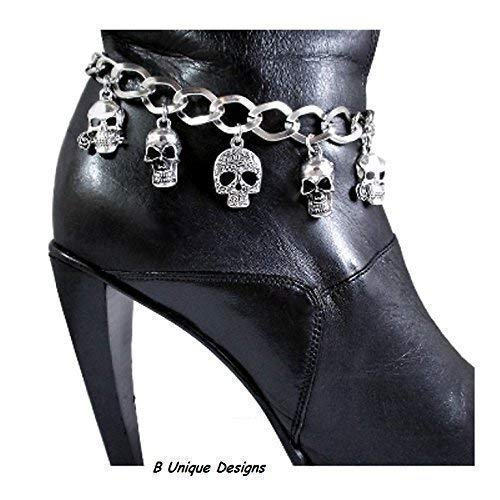 Skull Motorcycle Accessory Boot Bracelet Bling Iron Chain Motorcycle Boots Biker Accessory Custom