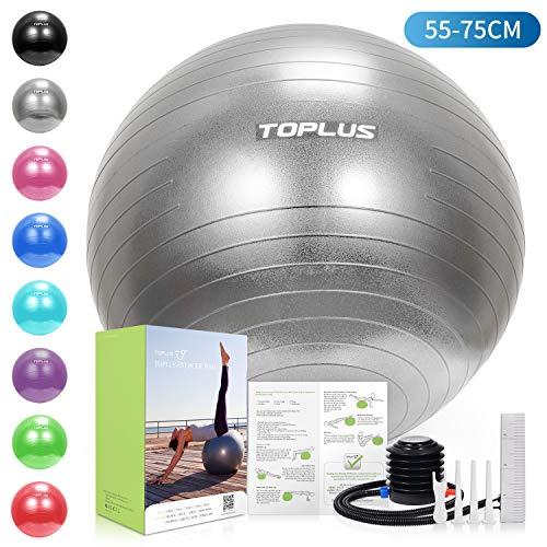 TOPLUS Gymnastikball Sitzball Extra Dicker Yoga-Ball-Stuhl, Anti-Berst-Stabilitätsball für hohe Beanspruchung, Balance Ball mit Schnellpumpe-Grau&65cm