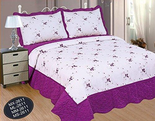 Forentex sprei voor bed met 135 cm, geborduurd met bloemenpatroon, decoratief, stijl met volant, 2 kussenslopen, 70 cm, Ref. MM-2611, violet, 235 x 260 cm