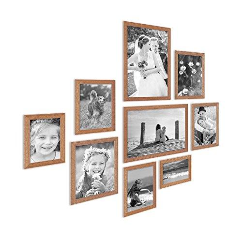 PHOTOLINI 9er Set Landhaus-Bilderrahmen Eiche-Optik Massivholz-Rahmen mit Glasscheibe und Zubehör / 10x15, 13x18, 15x20 und 20x30 cm/Fotorahmen