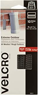 VELCRO Brand Industrial Strength Fasteners | Extreme Outdoor Weather Conditions | Professional Grade Heavy Duty Strength Holds up to 15 lbs on Rough Surfaces | 4 x 1 inch strips, 10 Sets, Titanium
