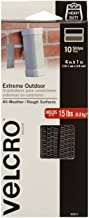 VELCRO Brand Outdoor Heavy Duty Strips | 4 x 1 Inch Pk of 10 | Holds 15 lbs | Titanium Extreme Hook and Loop Tape Industri...
