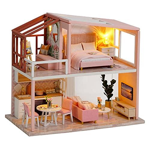 lemogo DIY Miniature Dollhouse Kit Handmade Wooden Dolls House & Furniture Kit 1:24 Scale Creative Doll House Toys Nordic Apartment Model (Heart-Warming Life)