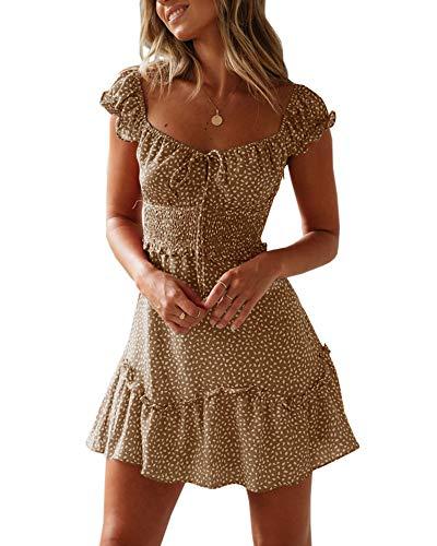 Yobecho Womens Summer Ruffle Sleeve Sweetheart Neckline Printing Dress (Medium, Khaki)