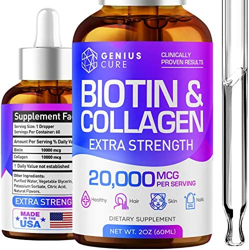 Genius Biotin Collagen Hair Growth Drops Potent US Made Hair Growth Product Healthy Skin Nails product image
