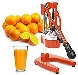 Zulay Professional Citrus Juicer - Manual Citrus Press and Orange Squeezer - Metal Lemon Squeezer - Premium Quality Heavy Duty Manual Orange Juicer and Lime Squeezer Press Stand, Orange