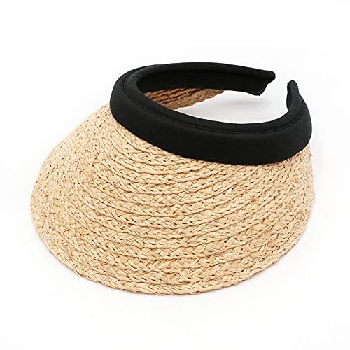 DJH Sombrero para el Sol para Mujer, Sombrero de Paja para la Playa, Vacaciones de Verano, protección UV, Banda para el Cabello de ala Ancha, Accesorios