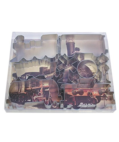 R&M International 1841 Train Cookie Cutters, Engine, Caboose, 3 Rail Cars and 3 Signs, 8-Piece Set