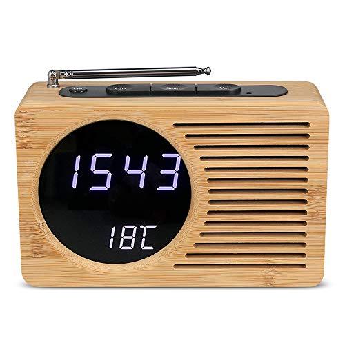 C-qing bambú LED Digital Despertador, Radio FM, Volumen Ajustable y Brillo, Display 12h / 24h Temperatura, Pausa, la batería y la Fuente de alimentación del USB, el Escritorio de Madera de Reloj,C