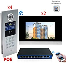 7 Inch Smart Video Doorbell Cameras Touch Screen WiFi Video Door Phone IP Intercom System for Building Access Control Support Password & IC Card with POE 2 Monitor 4 Camera