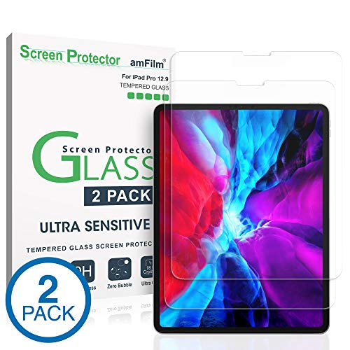 amFilm iPad Pro 12.9 Screen Protector (2020 and 2018 Models), Case Friendly (Rounded Edge) Tempered Glass Film Screen Protector for Apple iPad Pro 12.9 Inch (2 Pack)