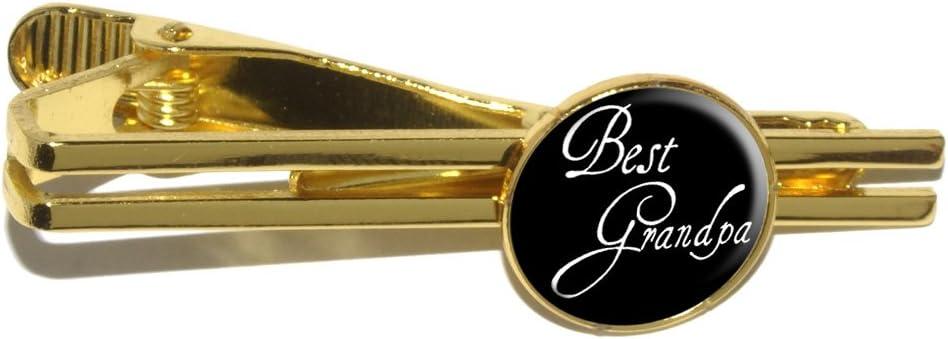 Best Grandpa Round Tie Bar Clip Clasp Tack - Gold