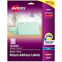 AVERY-DENNISON Easy Peel Mailing Labels For Inkjet Printers, 1/2 x 1 3/4, Clear, 800/Pack (18667) by Avery Dennison