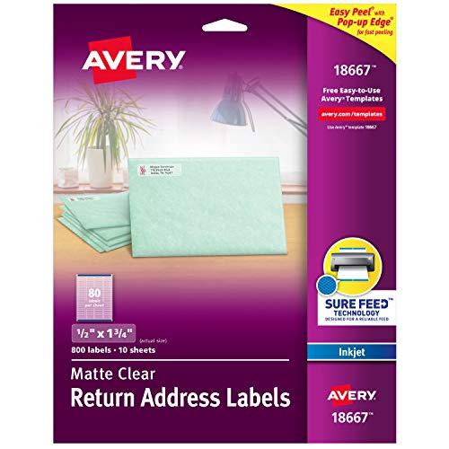 Avery Matte Clear Return Address Labels, Sure Feed Technology, Inkjet, 1/2' x 1-3/4', 800 Labels (18667)