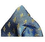 PB Pietro Baldini Pañuelo de bolsillo azul claro y dorado para hombre, pañuelos de bolsillo en seda tejida flor de lis, como complemento a la corbata o pajarita, 25 x 25 cm