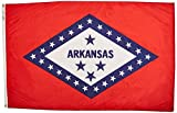 Annin Flagmakers Model 140360 Arkansas State Flag 3x5 ft. Nylon SolarGuard Nyl-Glo 100% Made in USA to Official State Design Specifications.