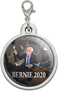GRAPHICS & MORE Bernie Sanders 2020 with Birds in A Forest Retro Cartoon Chrome Plated Metal Pet Dog Cat ID Tag