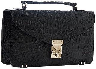 [ノーブランド品] ミニセカンドバッグ サイフ付き ヘッドクロコ型押し ブラック