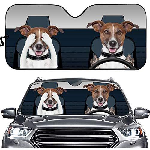 Binienty Divertido parasol decorativo para ventana delantera de coche, con diseño de conductor de 2 perros, reflectante de calor, parasol plegable para parabrisas