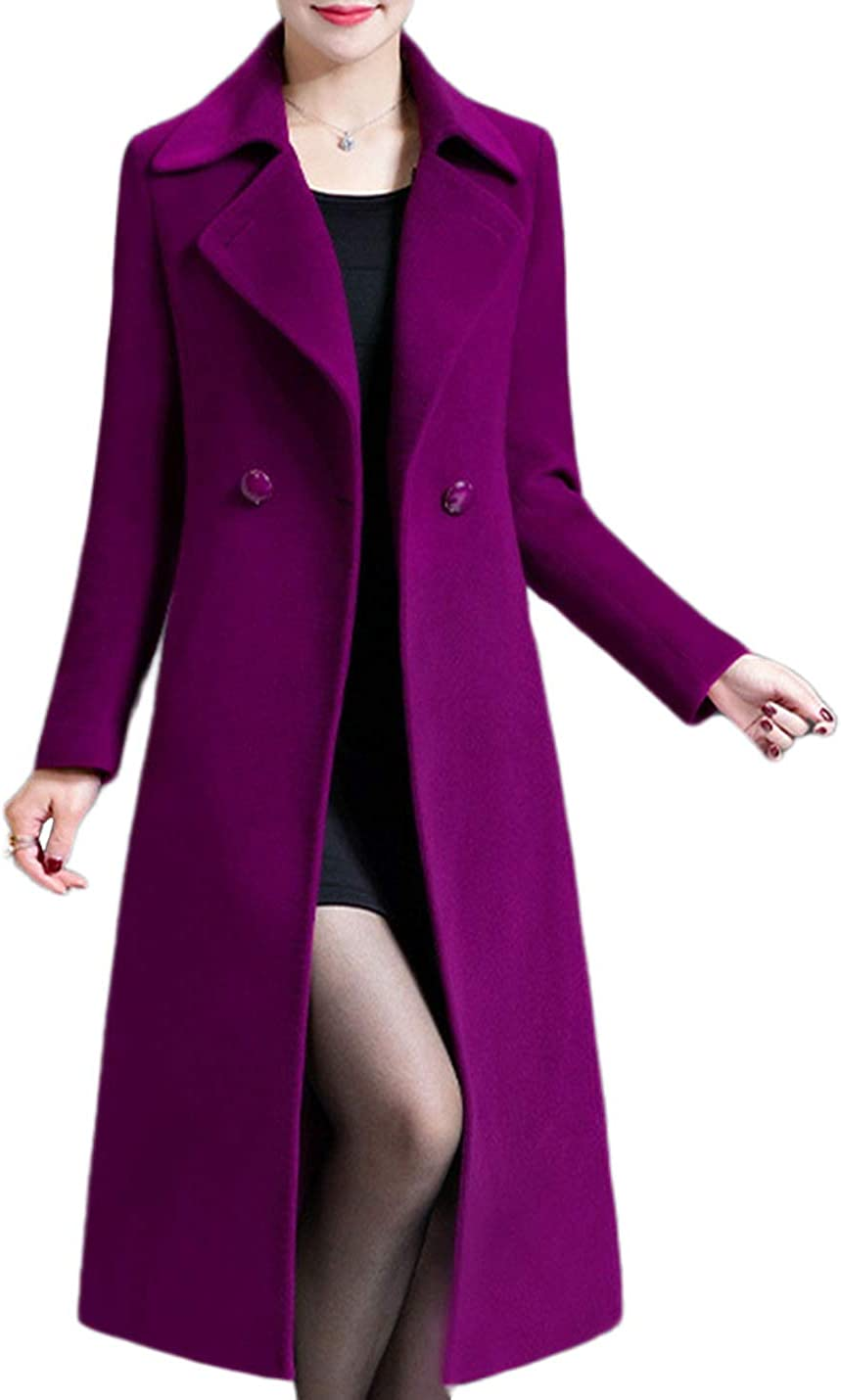 Uaneo Women's Casual Slim Notched Lapel Collar Double Breasted Midi Woolen Pea Coats(Purple-M)