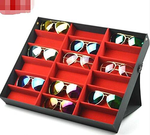 BADASS SHARKS brillenständer für 18 Paare Brillen Aufbewahrung Brillendisplay (18 Paare Brillen) Zusammenklappbar und multifunktional Brillendisplay für Brillen, Schmuck, Uhren Usw (Schwarz-Rot)