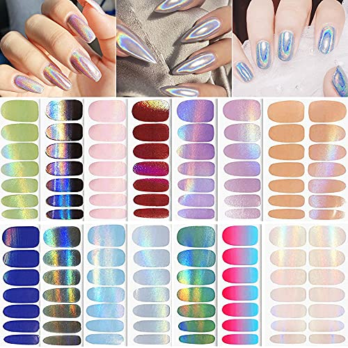 196 Pieces Holographic Nail Polish Stickers, 14 Sheets Holographic Glitter Nail Wraps Full Cover Holo Nail Polish Strips Gradient Glitter Self-Adhesive Nail Art Wraps Decals for Women Girls