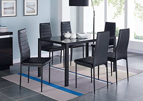 IDS Online 7 Pieces Modern Glass Dining Table Set Faux Leather With 6 Chairs Black