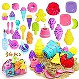 Juguetes de playa para niños, 34 piezas de juguetes de arena para niños pequeños, juego de arena de juego con molde para tartas té de la tarde y molde para helado, bolsa de almacenamiento incluida