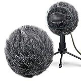 Funda Antiviento Protector contra el Viento de Piel para el Aire Libre Micrófonos Parabrisas para Blue Snowball Micrófono como Pantallas y Filtros Anti-pop por YOUSHARES(negro)