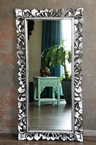 Naturesco Edler Wandspiegel Spiegel Barock Rokoko massiv Holz Silber antik 120cm x 60cm