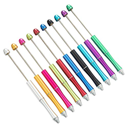 Bolígrafo de metal con cuentas creativas para bricolaje con eje de tinta negra, artículos de papelería, suministros de oficina para niños, regalo (negro)