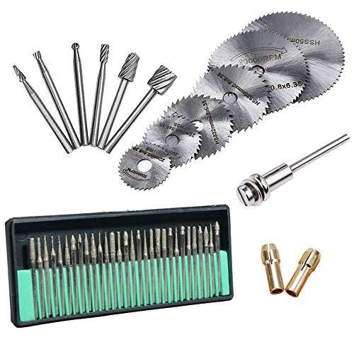 45 Pcs Diamond Engraving Accessories Set, Routing Bit/Circular Saw Blade/Diamond Burr Bits for Dremel Attachment