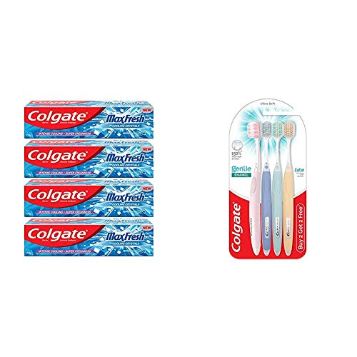Colgate Maxfresh Toothpaste, Blue Gel Paste With Menthol For Bad Breath Treatment Super Fresh Breath, 600G, 150 gram X 4 (Peppermint Ice)