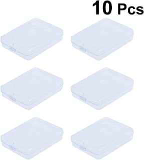 Toyvian Caja de contenedores de Cuentas de plástico Transparente con Tapa con bisagras Lápiz Rectangular Caja de Almacenamiento 10 unids