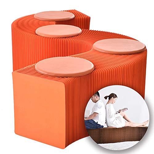 BYPING Faltpapier Hocker,Akkordeon Design Faltbarer Stauraum Wabenstruktur Starke Tragfähigkeit Platz for 4 Personen, Abendessen Party (Color : Orange, Size : 240x30x38cm)