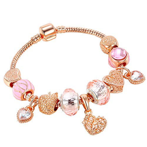 Hottime Golden Beaded Bracelet for Women Pink Beads Handmade Pandora Bracelets Carved Chain Charm Wristband Heart-Shaped Apple New Year Valentine's Day Gift