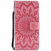 Galaxy S9 Plus ケース、 Dfly PU 革 を エンボスマンダラ花デザイン 財布型 スタンド機能 ウルトラスリム フリップ マグネット吸着 ケース Samsung Galaxy S9+、 ピンク