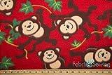 Monkey Business Red Anti-Pill Polar Fleece Fabric Polyester 13 Oz 58-60'
