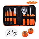 Halloween Pumpkin Carving Kit, BQYPOWER 11 Piece Professional Pumpkin Cutting Tools Set Heavy Duty Stainless Steel Carving Tools for Pumpkin Jack-o-Lanterns, with Carrying Case Pumpkin Lanterns
