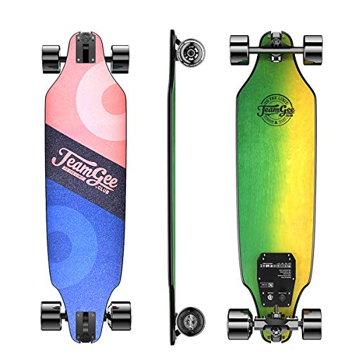 Teamgee H8 Skateboard Eléctrico - Longboard para Adultos con Control Remoto, Motor de 480 Vatios, Tres Velocidades Ajustables 16-25 km/h, Peso 5.3 kg, Autonomía 12-15 km