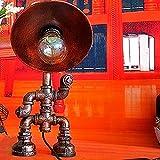 FAGavin Iron craft robot loft personalidad creativa lámpara de mesa tubo cafetería bar decoración pintura atenuación manual interruptor de control E27 soporte de lámpara lámpara de mesa de metal compl