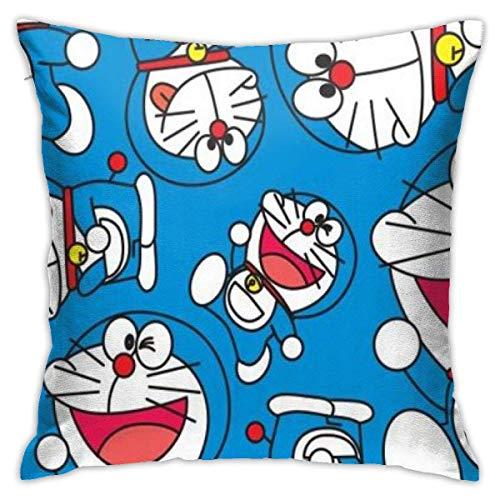 Used Throw Pillow Covers Doraemon Happy-Square Shape Decorative Cushion Cover for Couch Sofa Pillow Set Fundas para Almohada 18x18Inch(45cmx45cm)
