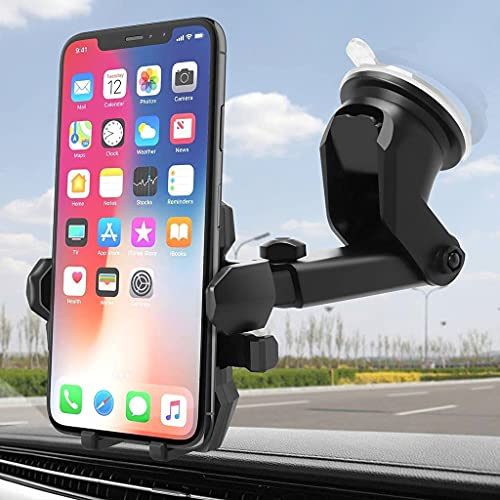 CEUTA® Premium- Car Mobile Phone Holder – Telescopic One Touch Long Neck Arm 360 Degree Rotation | Ultimate Reusable Suction Cup Mount Mirror Stand Anti Shake & Fall Prevention Adjustable Vibration Pads Universal Vehicle Interior Automobile Accessories Supports for Dashboard / Windshield / Desktop (Assorted Color) Up to 6.5 inch Smartphones