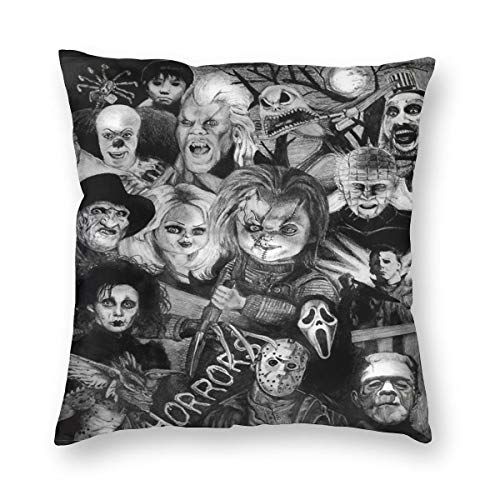 ANNBITION Horror Mysterious Character Scary Movies Halloween Cozy Throw Pillow Covers Set Decorative Throw Pillow Cushion Case for Couch Bedroom Room Sofa Chair Car Standard 18 X18 Inch