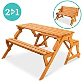 Best Choice Products 2-in-1 Transforming Interchangeable Outdoor Wooden Picnic Table/Garden Bench for Backyard, Porch, Patio, Deck w/Umbrella Hole - Natural