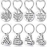 8 Pieces Teacher Appreciation Gift Teachers Keychain Graduation Gifts Key Rings Round and Heart Shape Pendant Key Chain for Teachers Thank You Gift (Elegant Style)