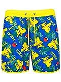 """Costume da surf uomo Pokemon. Tuffati nell'estate con questo fantastico costume da bagno dei Pokemon! Il luminoso costume riporta raffigurazioni multiple che vedono ritratti Pikachu, le Sfere Pokè, e la famosa esclamazione di Pikachu """"Pika Pika"""". Con..."""